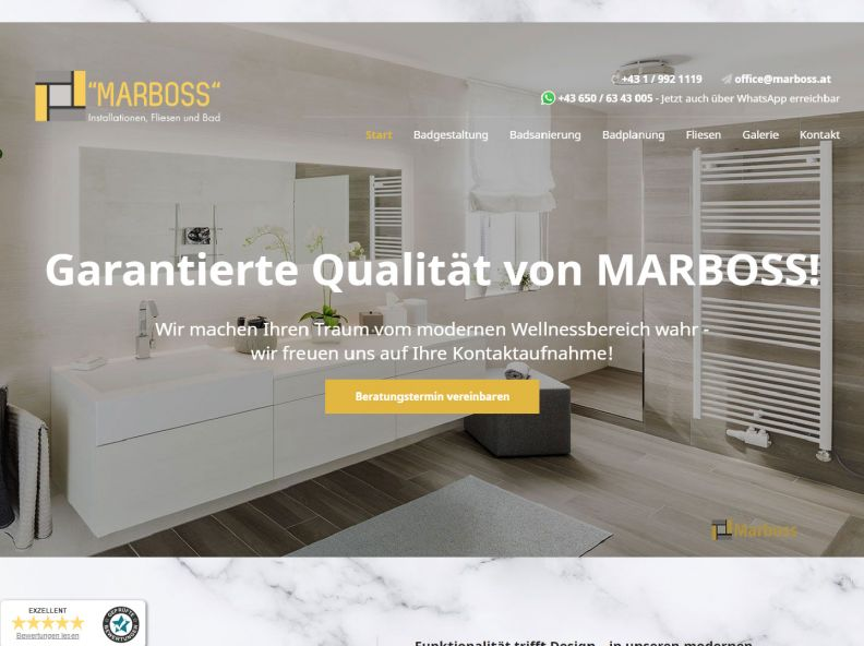 ''Marboss'' Installationen, Fliesen und Bad